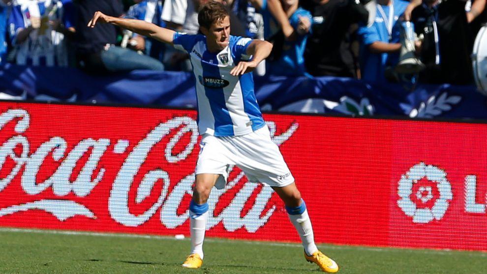 Szymanowski celebra un gol con el Leganés