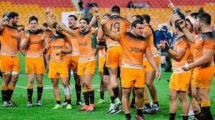 Jaguares festejando un triunfo en el Super Rugby