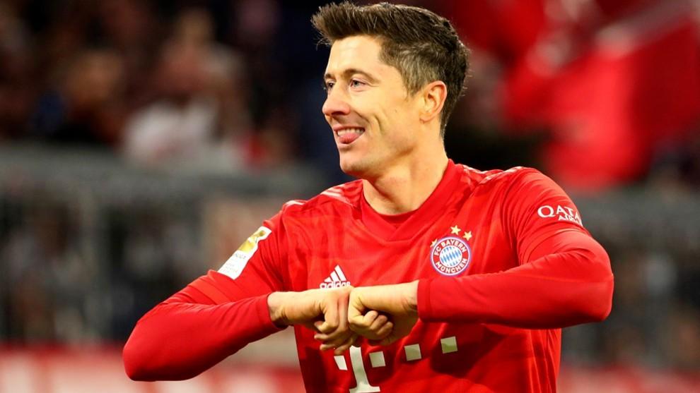 Lewandowski celebra uno de sus goles con el Bayern.