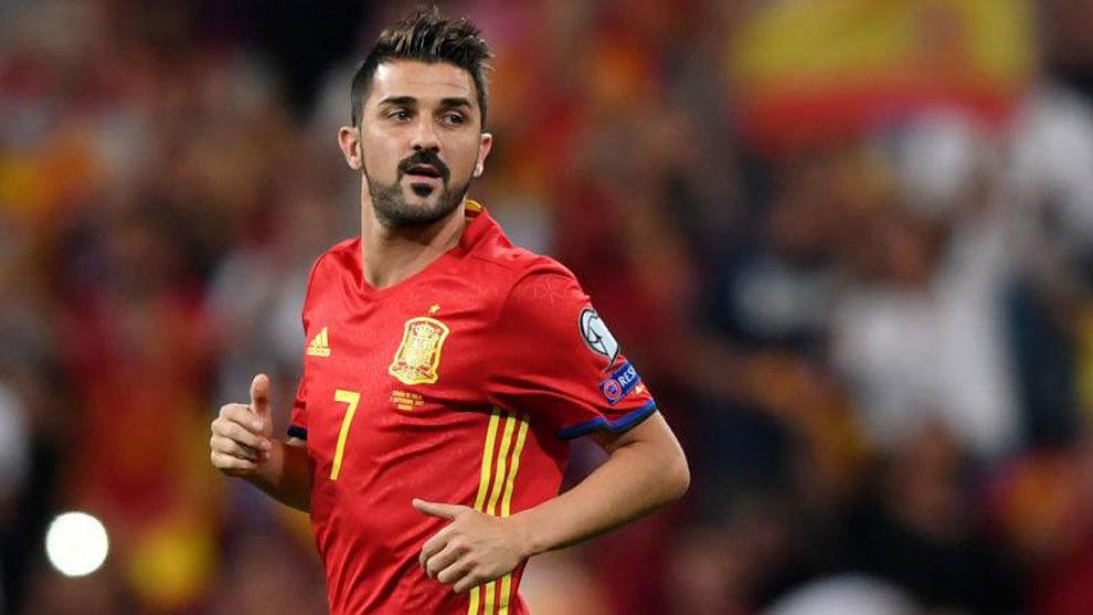 David Villa, en un partido con la selección española