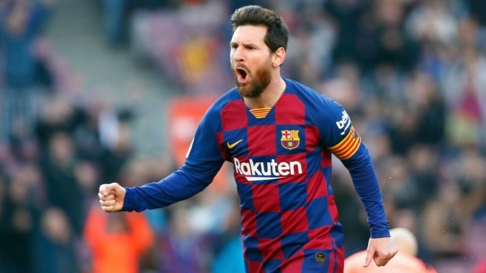 Leo Messi celebra un gol con el Barcelona.