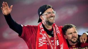 Klopp, celebrando el título conquistado con el Liverpool.