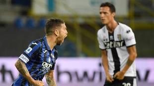 Así celebró el Papu Gómez el gol que dio la victoria al Atalanta...