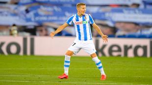 Odegaard, durante un partido con la Real Sociedad
