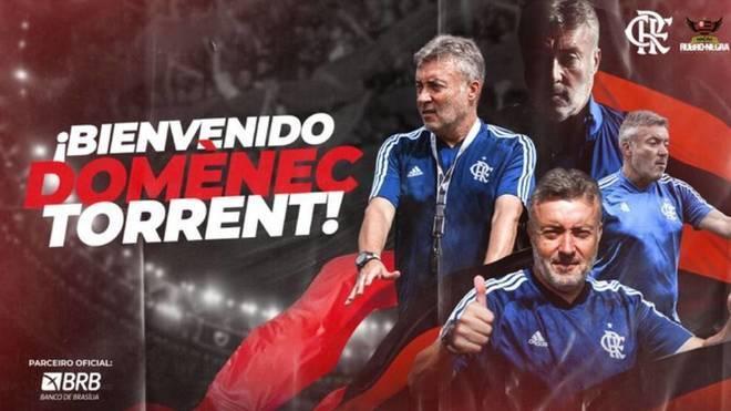 Así anunció Flamengo a Domenec Torrent.