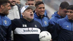Argentine former football star and new coach of Gimnasia y Esgrima La...