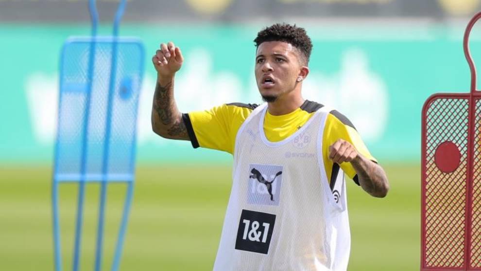 Jadon Sancho, en un entrenamiento del Borussia Dortmund.