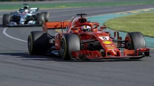 Sebastian Vettel, durante una carrera con Ferrari en el Mundial de...