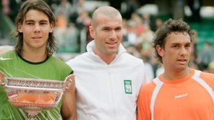 Mariano Puerta junto a Rafael Nadal y Zinedine Zidane
