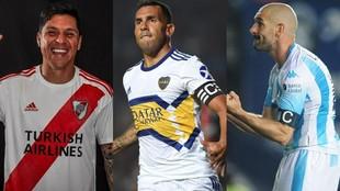Enzo Pérez, de River, Carlos Tevez, de Boca y Lisandro López, de...
