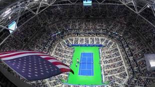 Impresionante vista aérea de la pista Billie Jean King del US Open.