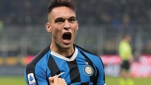Lautaro Martínez celebra un gol en el Inter
