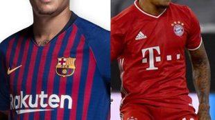 El jugador en cuestión con las dos camisetas.