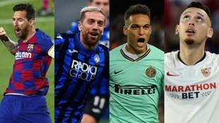 Leo Messi, Alejandro Gómez, Lautaro Martínez y Lucas Ocampos, cuatro...