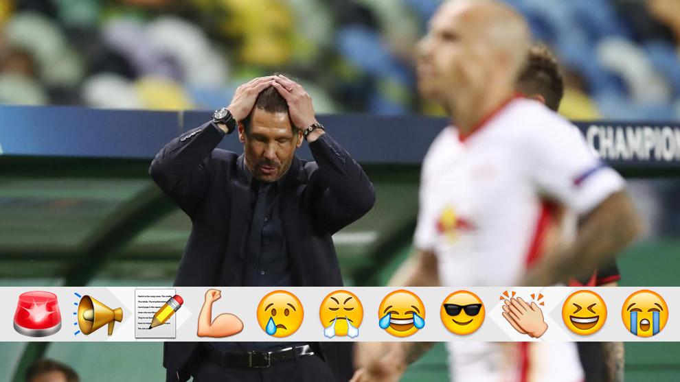El Cholo Simeone, en el partido del Atlético ante el RB Leipzig en la Champions League.