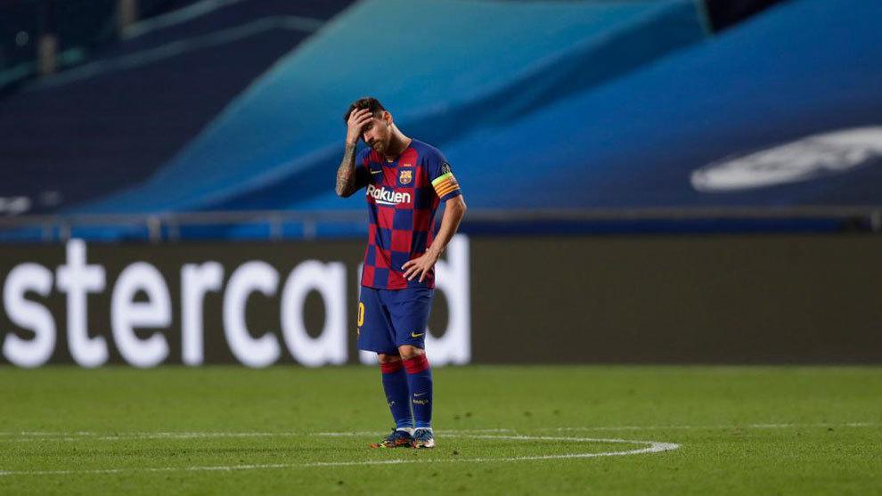 Messi, abatido durante la goleada del Bayern