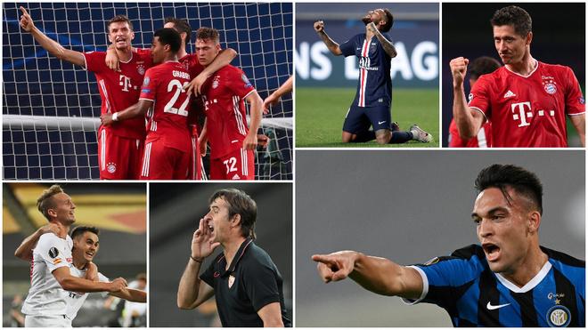 Sevilla e Inter, por la Europa League, PSG y Bayern, por la Champions.