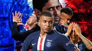 Nasser Al-Khelaifi y sus estrellas: Mbappé, Neymar y Di María.