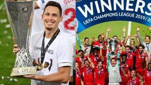 Lucas Ocampos alza la Europa League y el Bayern festeja la Champions.