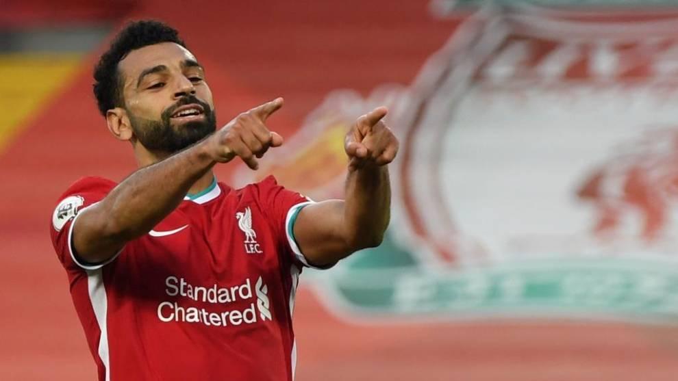 Salah celebra uno de sus goles ante el Leeds