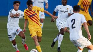 Pedri, en acción en el primer partido de pretemporada del Barcelona