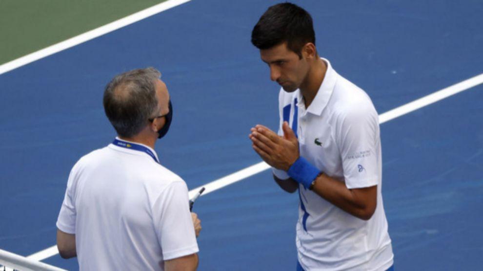 Novak Djokovic durante su descalificación del US Open.