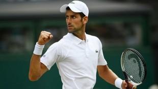 Novak Djokovic celebra una victoria.