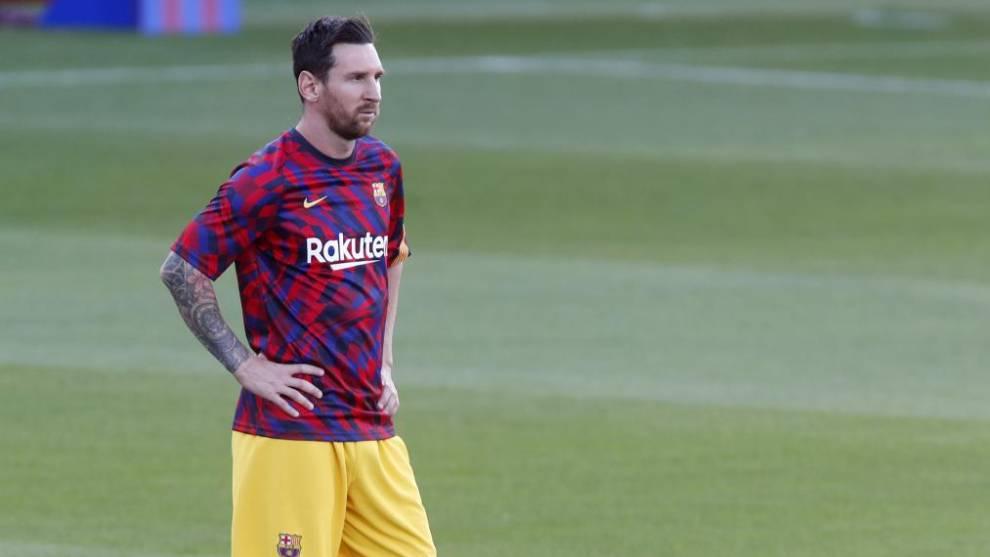 Leo Messi, antes de un partido con el FC Barcelona.
