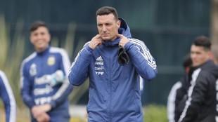 Lionel Scaloni, durante un entrenamiento de Argentina.
