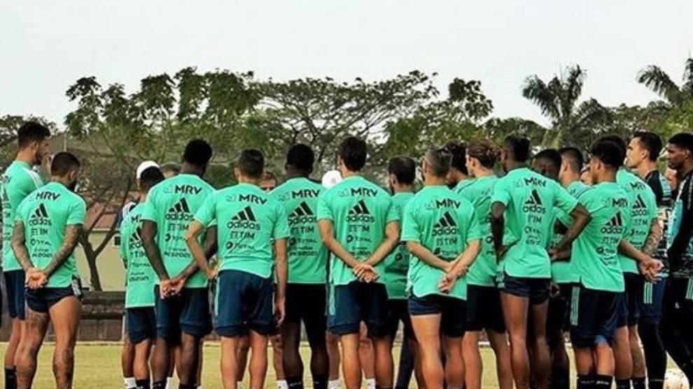 La plantilla del Flamengo, en un entrenamiento preparando la Copa...