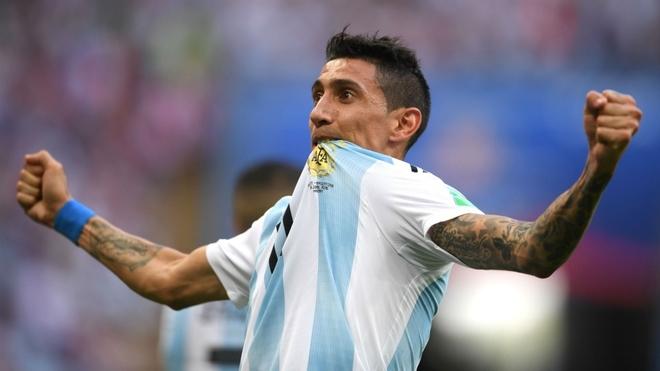 Ángel Di María celebra un gol en la Selección Argentina