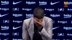 Luis Suárez en su despedida del Barca.