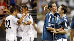 Ángel Di María junto a Cristiano Ronaldo y Leo Messi