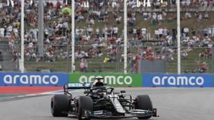 Hamilton, en la clasificación del Gran Premio de Ruisa.