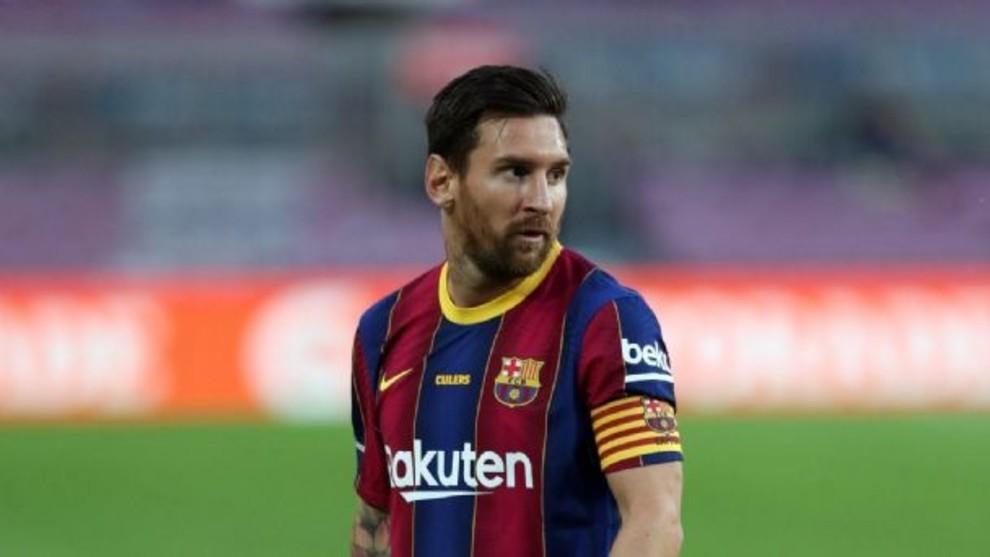 Leo Messi en un partido con el Barcelona.