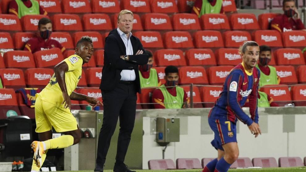 Ronald Koeman, en el partido del FC Barcelona contra el Villarreal.