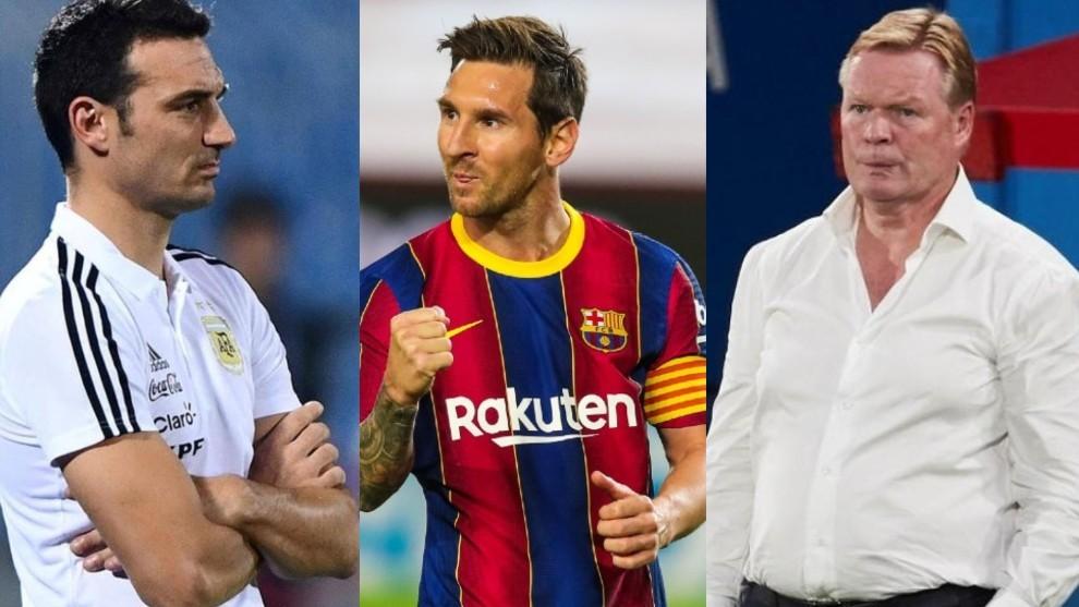 Lionel Scaloni, DT de Argentina, Leo Messi, y Ronald Koeman, DT del...