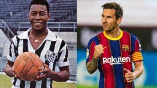 Pelé, a punto de perder su récord con Messi.