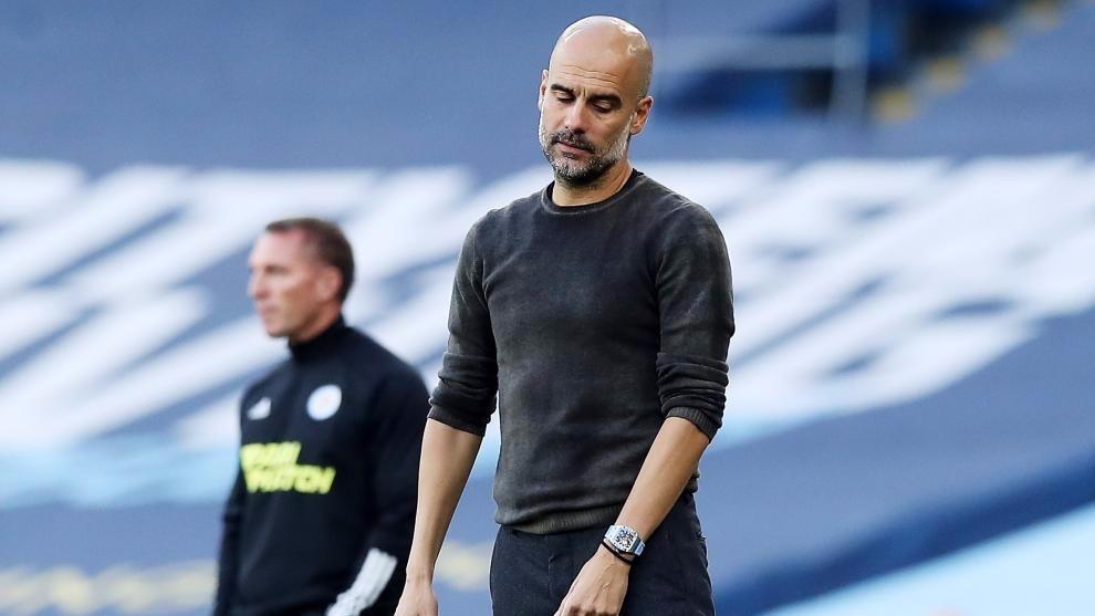 Pep Guardiola, en el último partido frente al Leicester.