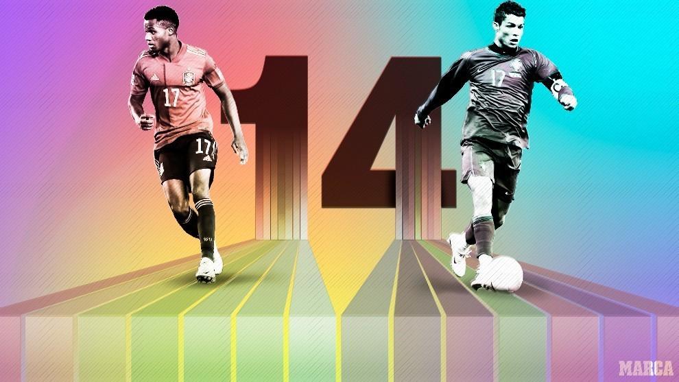 Ansu Fati y Cristiano Ronaldo.