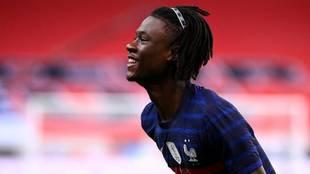 Camavinga,  tras anotar su primer gol con Francia ante Ucrania.