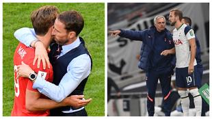 Harry Kane con Southgate en la selección inglesa y con Mourinho en el...
