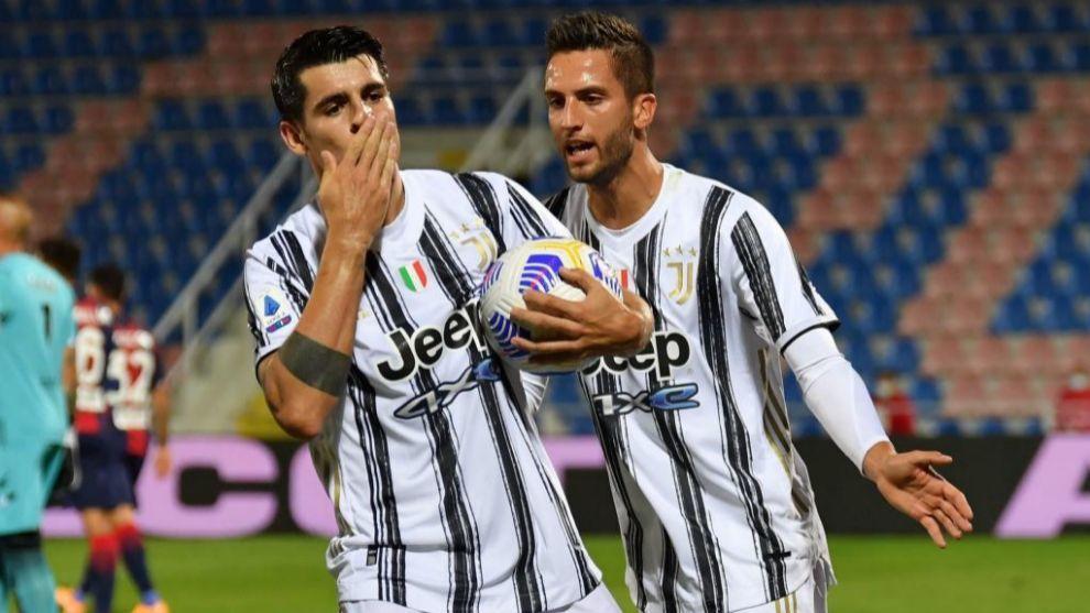 Morata celebra el gol del empate de la Juventus.