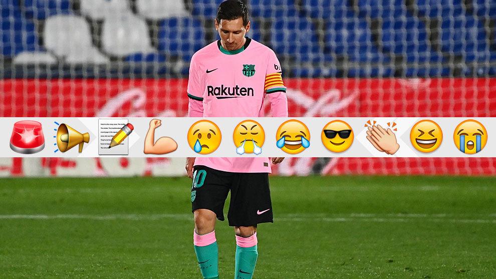 Leo Messi, cabizbajo tras la derrota del Barcelona en Getafe.