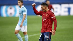 Facundo Roncaglia celebra un gol ante el Celta.