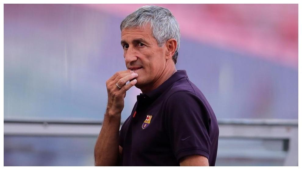 Quique Setién, en su etapa como entrenador del Barcelona.