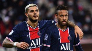 Mauro Icardi junto a Neymar, en un encuentro del París Saint-Germain