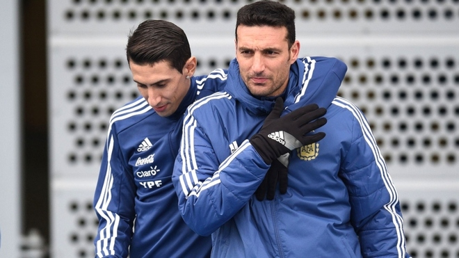 Ángel Di María y Lionel Scaloni