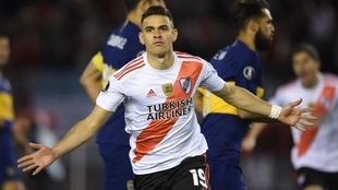 Borré celebra su gol ante Boca en la Copa Libertadores 2019
