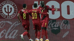 Lukaku celebra uno de sus goles.